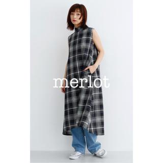 メルロー(merlot)の新品 春夏メルローカジュアル1枚コーデ♡チェック柄チュニックタンクロングワンピ紺(ロングワンピース/マキシワンピース)
