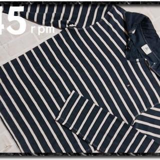 フォーティーファイブアールピーエム(45rpm)の45rpm& 刺繍入りボーダーカットソー 濃紺×白(Tシャツ/カットソー(七分/長袖))