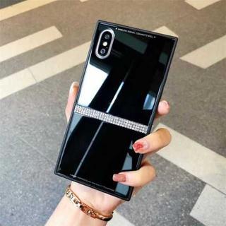 iPhoneXS / X ブラック ラインストーン スクエア 特殊加工 ケース