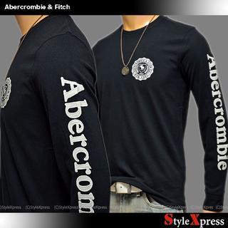 アバクロンビーアンドフィッチ(Abercrombie&Fitch)の小難SALE 新品 アバクロンビー&フィッチ 黒 L アップリケ 袖ロゴ ロンT(Tシャツ/カットソー(七分/長袖))