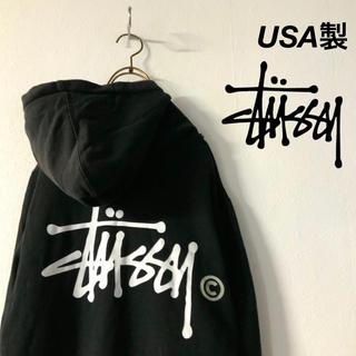 STUSSY - USA製 STUSSY ステューシー ビッグロゴ フルジップ  パーカー