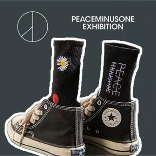 PEACEMINUSONE - peaceminusoneピースマイナスワン 花柄 ソックス黒 靴下 男女兼用