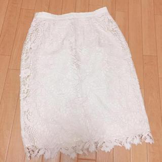 ジャスグリッティー(JUSGLITTY)のジャスグリッティー  ホワイト レースタイトスカート(ひざ丈スカート)