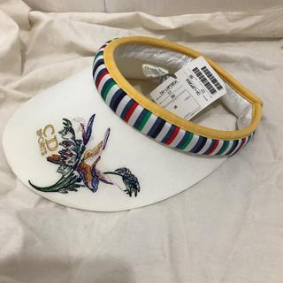 クリスチャンディオール(Christian Dior)のクリスチャンディオール 花 刺繍 サンバイザー キャップ 帽子(その他)