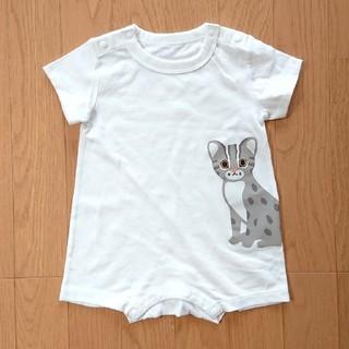 ムジルシリョウヒン(MUJI (無印良品))の無印良品 良品計画 オーガニックコットン ロンパース 動物 猫 ネコ 70~80(ロンパース)