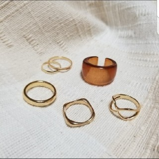 ビューティアンドユースユナイテッドアローズ(BEAUTY&YOUTH UNITED ARROWS)のゴールド シルバー リング 指輪 セット  重ね付け ミル チェーン クリア(リング(指輪))