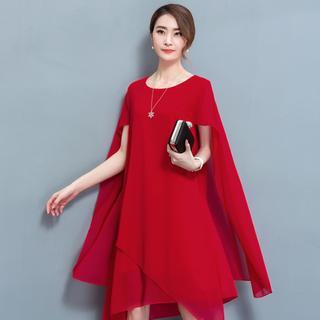 ドレス パーティードレス 結婚式 おしゃれ 赤 ワンピース かわいい 発表会 M(ミディアムドレス)