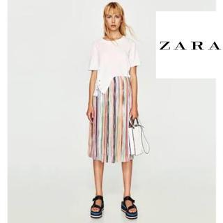 ザラ(ZARA)のZARA レインボー スカート プリーツ ザラ 美品 カラフル チュールスカート(ひざ丈スカート)