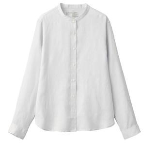 MUJI (無印良品) - 無印良品オーガニックリネン洗いざらしスタンドカラーシャツ 婦人Sシルバーグレー