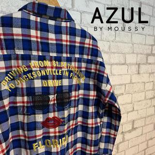 アズールバイマウジー(AZUL by moussy)の【お洒落!】AZUL by moussy アズール/ チェックシャツ 刺繍(シャツ/ブラウス(長袖/七分))