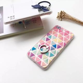 iPhone7 iPhone8  リング付き トライアングル パステルカラー(iPhoneケース)