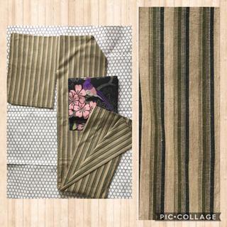 リサイクル 遠州木綿 単衣着物 洗える着物 抹茶系縞柄(着物)