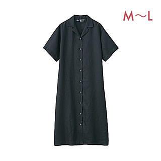 ムジルシリョウヒン(MUJI (無印良品))の無印良品   フレンチリネン洗いざらし五分袖開襟ワンピース  婦人M~L  黒 (ひざ丈ワンピース)