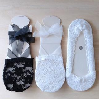 シマムラ(しまむら)の【新品未使用】 しまむら レース素材靴下 3足(ソックス)