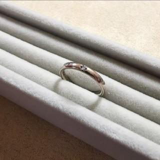 ヨンドシー(4℃)の4℃ シルバー リング ダイヤモンド 1粒 ピンクシルバー(リング(指輪))