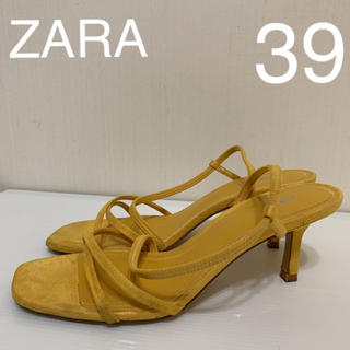 ザラ(ZARA)のZARA  イエロー  ストラップ  ローヒール サンダル 39(サンダル)