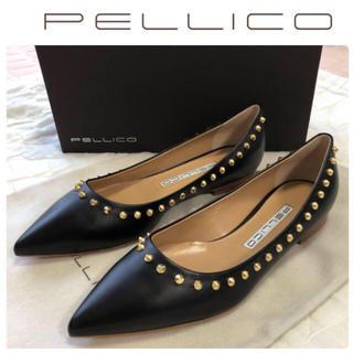 ペリーコ(PELLICO)のPELLICO ペリーコ スタッズ レザー フラット パンプス 新品 24.5(ハイヒール/パンプス)