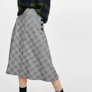 ザラ(ZARA)の【ZARA】グレンチェックフレアスカート Sサイズ(ロングスカート)
