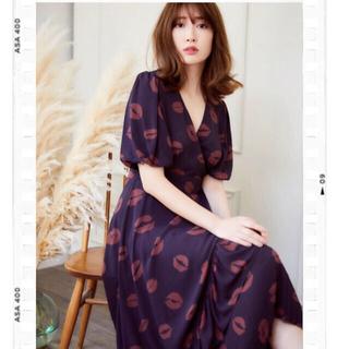 snidel - 【Her lip to】Lip-print Wrap Dress