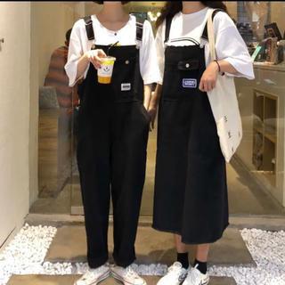 オーバーオール サロペット カジュアル デニム ブラック 黒 パンツ スカート(サロペット/オーバーオール)