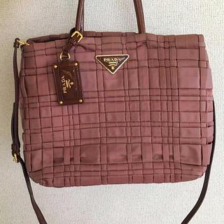 PRADA - プラダ正規美品ピンク編み込み2wayトートバッグ