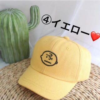 SNOOPY - 【新品】大人気❗️チャーリーブラウンcap キッズ 帽子 男女兼用 ④イエロー