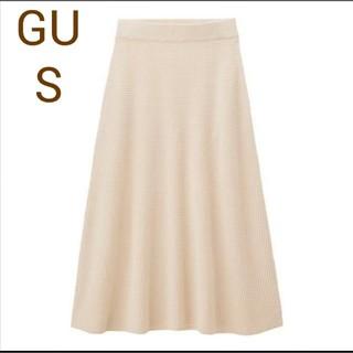 GU - S 新品 GU ワッフルニットフレアスカート レディース スカート春服