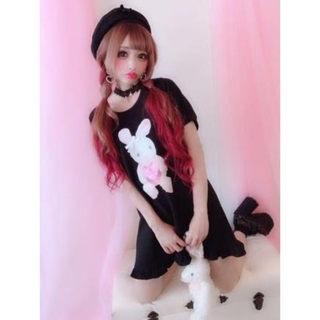 マーズ(MA*RS)の美品♡ プリメロ PrincessMelody うさちゃんワンピース 黒(ミニワンピース)