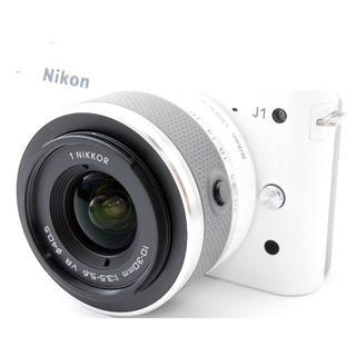 ニコン(Nikon)の❤️ニコン Nikon 1 J1 ホワイト❤️取説・元箱・スマホに送れる♪(ミラーレス一眼)