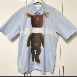 コムデギャルソン(COMME des GARCONS)のコムデギャルソンシャツ 半袖シャツ M 水色 ベアープリント パッチワーク(シャツ)