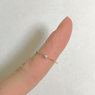 アガット(agete)のagete アガット 一粒ダイヤリング シンシア k10(リング(指輪))