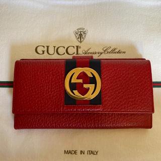 グッチ(Gucci)の美品 人気 GUCCI オールド グッチ シェリーライン 小銭入れ 長 財布 赤(財布)