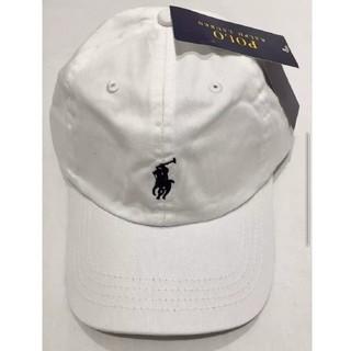 ポロラルフローレン(POLO RALPH LAUREN)の新品タグ付き ポロ・ラルフローレン 帽子 ホワイト/ブラックポニー 高品質(キャップ)