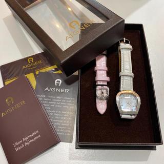美品! ☆アイグナー☆ 限定品 シェル&ダイヤ レディース腕時計