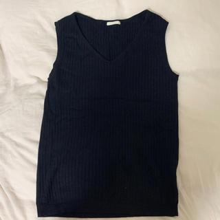 ジーユー(GU)のGU サマーニット Vネック リブ ブラック(カットソー(半袖/袖なし))