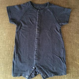 濃紺無地 半袖ロンパース60-70(ロンパース)