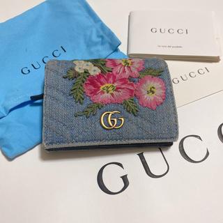 グッチ(Gucci)のGUCCI 日本限定 デニム刺繍財布 2つ折り(財布)