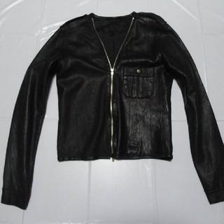 エディション(Edition)の高級 美品◆エディション 女性 襟無し 羊革 レザージャケット 黒M◆ライダース(ライダースジャケット)