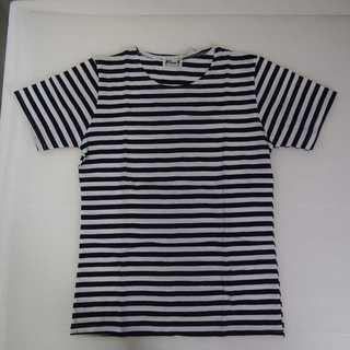 【新品】ボーダー 丸首 半袖 Tシャツ ネイビー XL (T02)