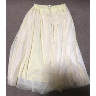 サルース(salus)の淡い黄色のスカート(ひざ丈スカート)