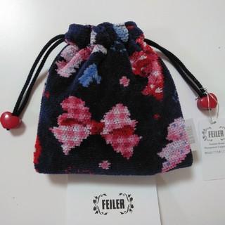 FEILER - 【新品タグ付き】フェイラー ミルメルシー ネイビー リボン柄 巾着ポーチ