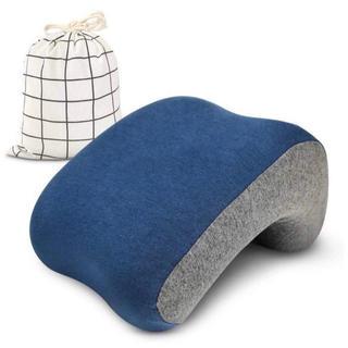 昼寝 枕 机 オフィス 腕が痺れない 寝心地良い 低反発 ポーチ付 紺色xグレー(枕)