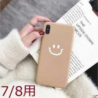 【iPhone7/8用 】ブラウン スマイリーニコちゃん柄(iPhoneケース)