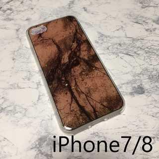 IP001大理石 金箔 iPhoneケース ブラウン 7/8(iPhoneケース)