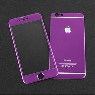 iPhoneSE第2世代 パープル 全面保護 チタンフレーム バンパー(モバイルケース/カバー)