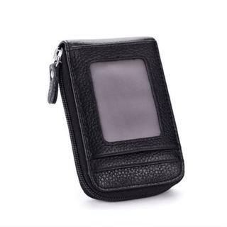 【ブラック】レザーカードケース ユニセックス 大容量 ミニ財布(名刺入れ/定期入れ)