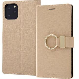 アイフォーン(iPhone)のiPhone 11 Pro 手帳型レザースマホケース リング付きベージュ(iPhoneケース)