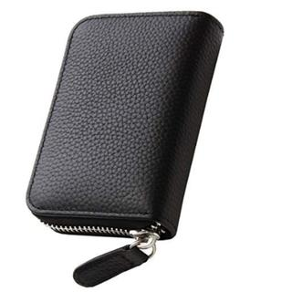 財布 カードケース メンズ レディース 大容量 黒 本革 じゃばら 薄型 新品(名刺入れ/定期入れ)