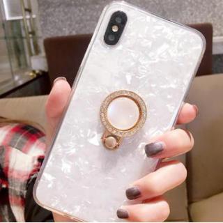 iphoneケース クリア iphoneX キラキラ宝石柄 リングブラケット(iPhoneケース)
