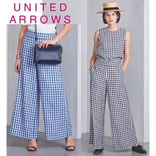 UNITED ARROWS - 新品ユナイテッドアローズギンガムチェックワイドパンツ38ブルー